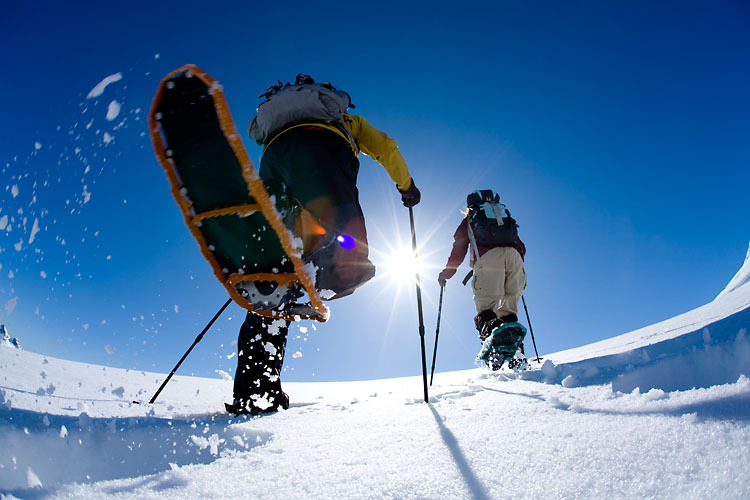 Adventure: Snowshoeing on a sunny day in the upper Paradise valley, Mt. Rainier National Park